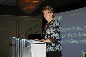 Ohio ACEP Executive Director Laura Tiberi speaks at the 11th Annual EMS Star of Life Awards